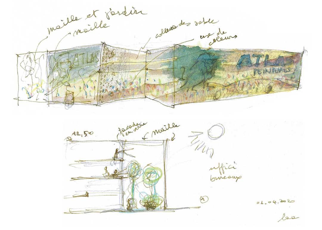 AtlasPeintures - facade concept sketch laa - lorenaalessioarchitetti}