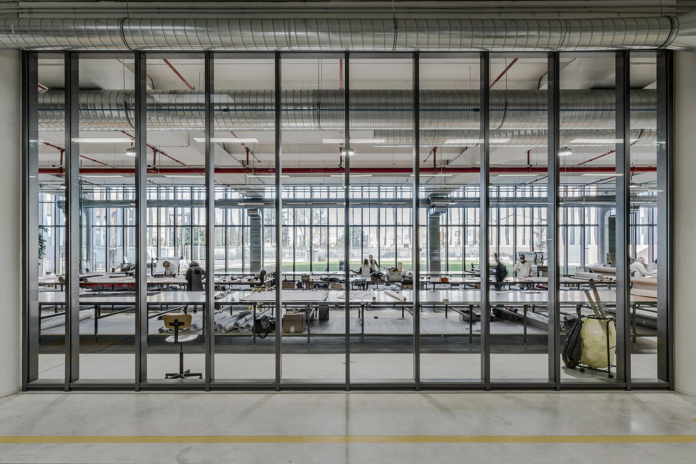 Zamasport, laboratorio produzione al piano terra dell'headquarter Mario Frusca