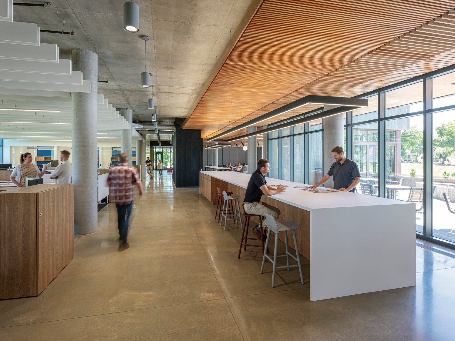 Strategies focused on using healthy, regional materials, maximizing daylighting and views, and creating a warm and engaging sense of place. Tim Griffith