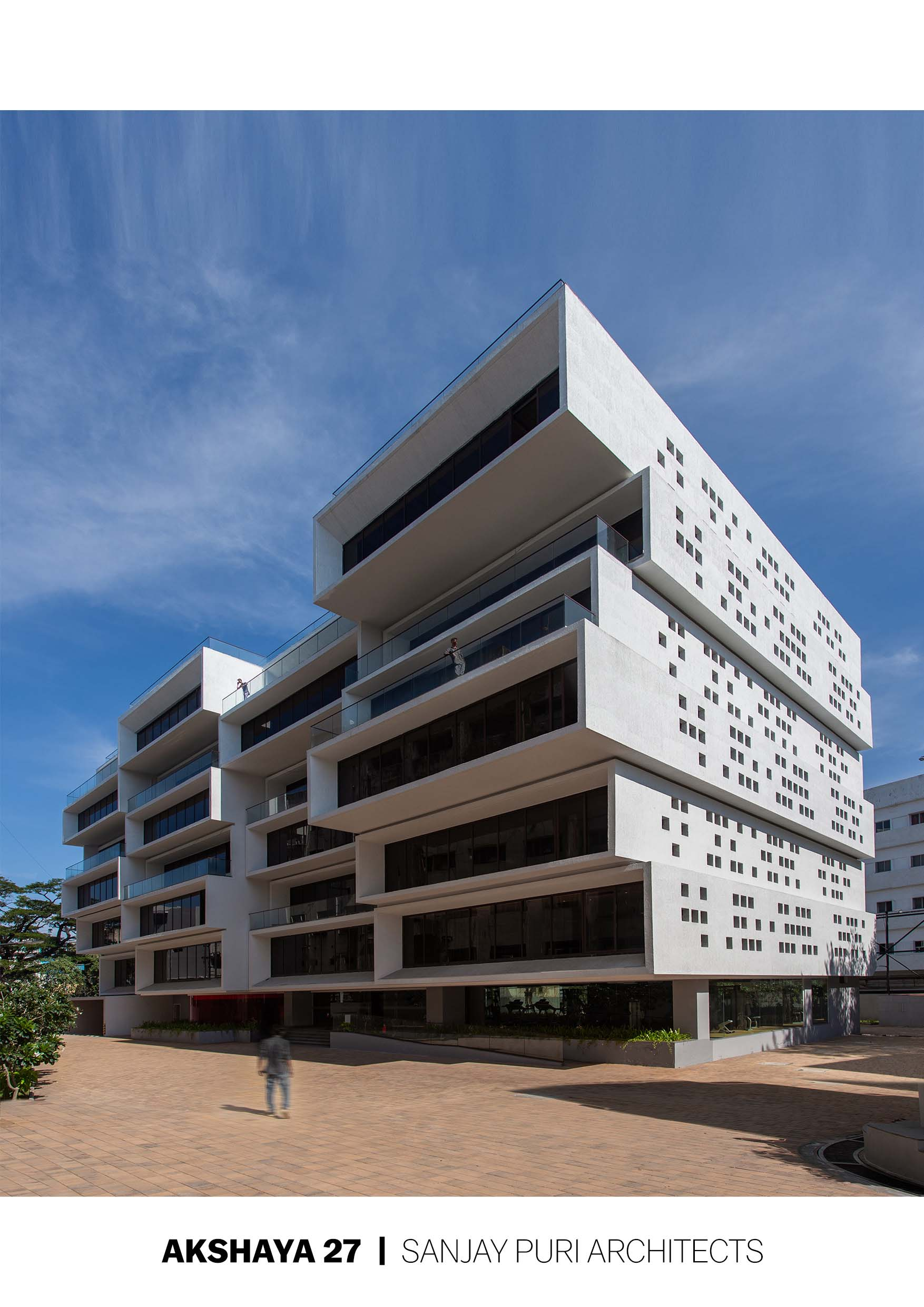 Cuboid cantilevered volumes create an office building with outdoor spaces at each level BRS Sreenag, Sreenag Pictures
