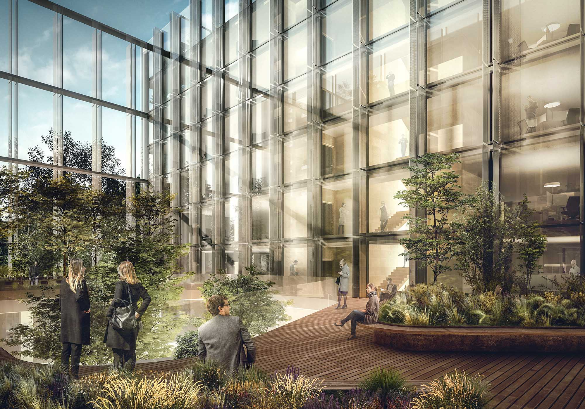 The lighting and air conditioning systems will ensure the utmost comfort while the distribution of the rooms will alternate working environments with green indoor and outdoor spaces and areas devoted to me render by Antonio Citterio Patricia Viel