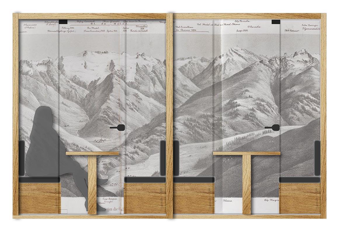 I call boxes con la tappezzeria sullo sfondo che riporta le immagini delle vicine Alpi Alessandra Leone}