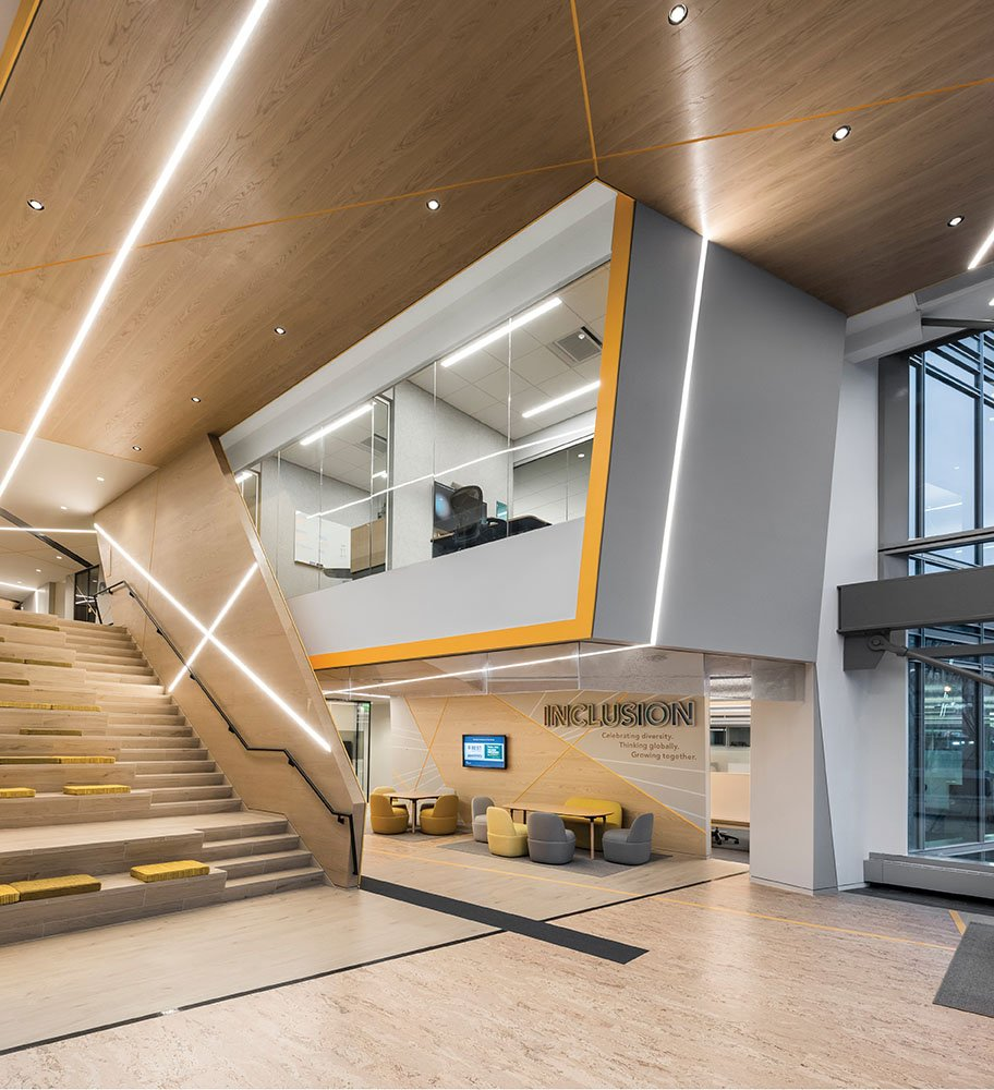 A pattern of intersecting lines traverses each floor, growing more concentrated in collaboration spaces and more sparse near quiet work stations Anton Grassl