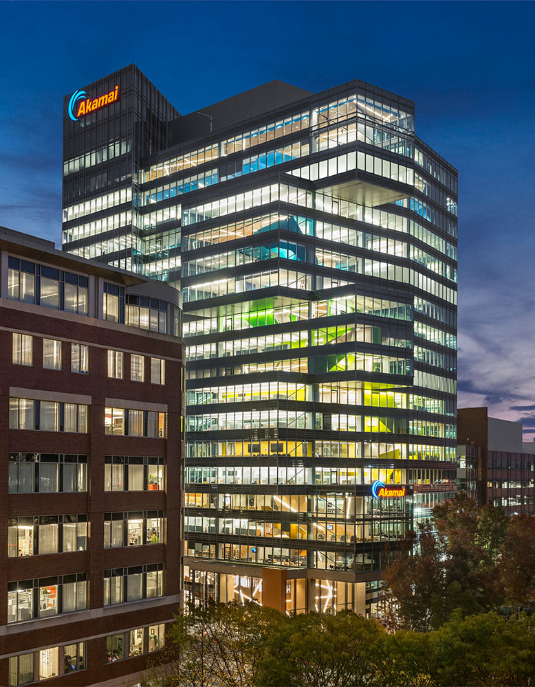 The gradient of colors is visible from the outside, reinforcing Akamai's identity to the public Anton Grassl