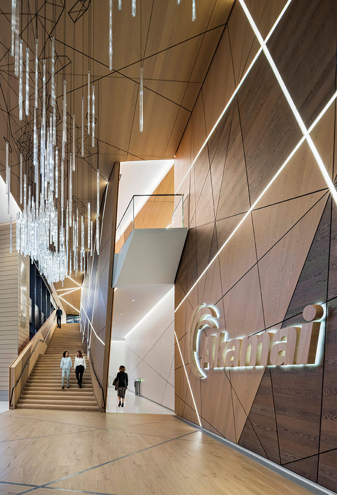 An interactive light installation in the lobby highlights internet traffic around the world. The custom light fixture conveys Akamai's brand story through an artful, digital interface that is intuitive to  Anton Grassl