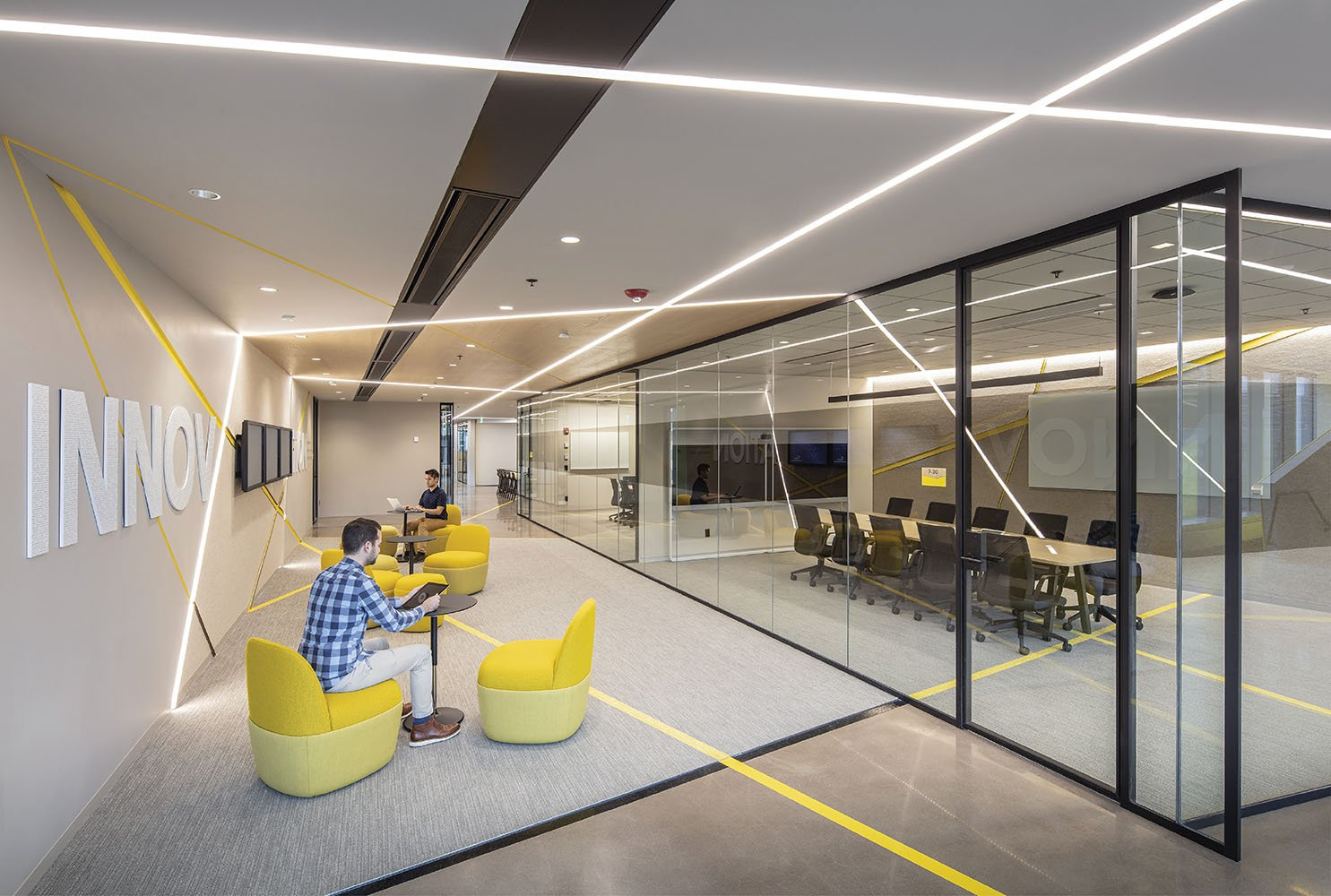 The design team drew inspiration from the idea of network connectivity to tie the office space together Andy Caulfield