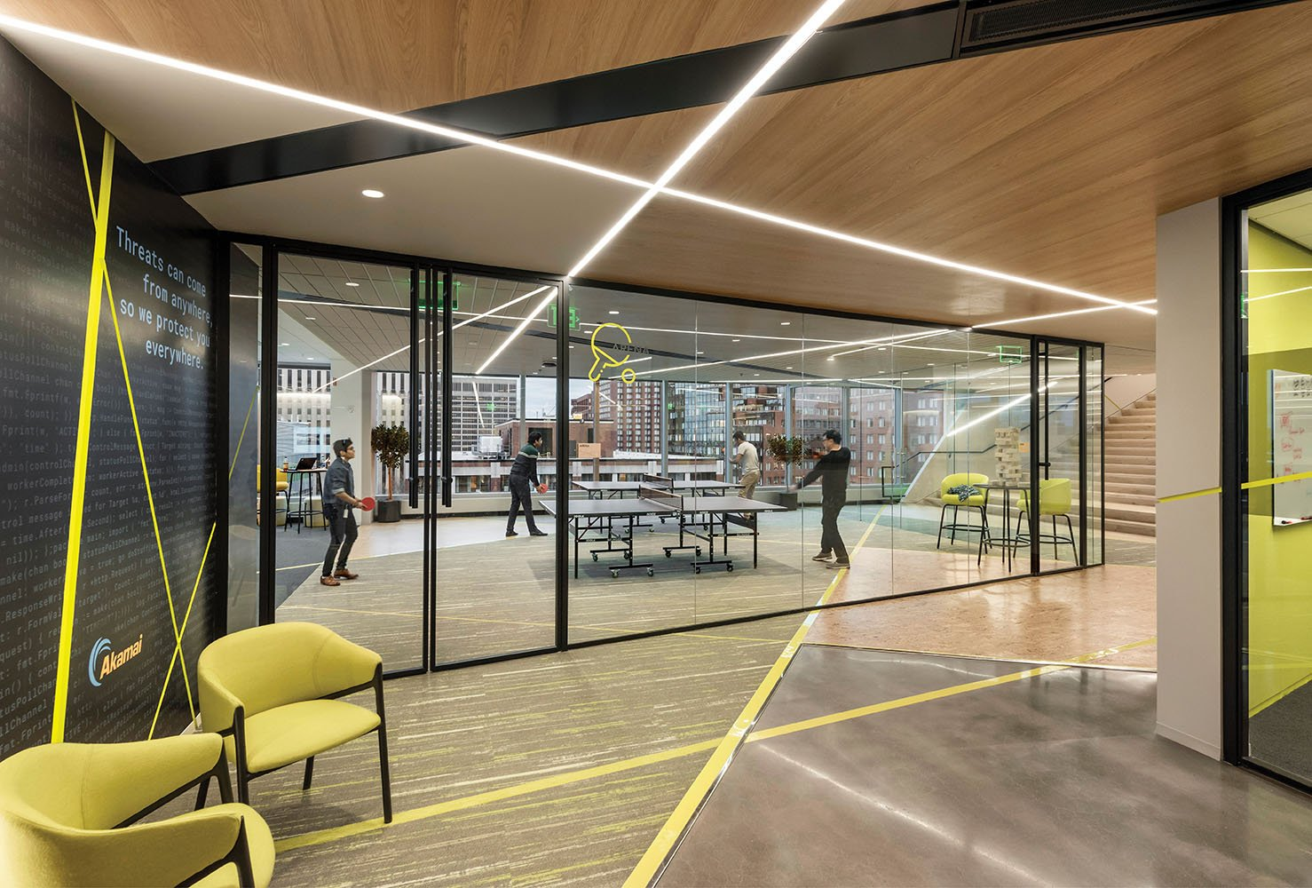 """The light, airy """"arena"""" on the eighth floor is a setting devoted to lively games of ping pong and pool Anton Grassl"""