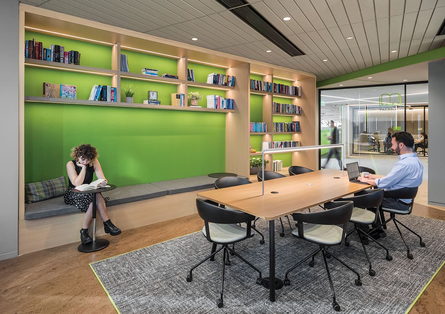 Quiet, isolated libraries offer a respite for those looking to escape the open office for more intense concentration Anton Grassl