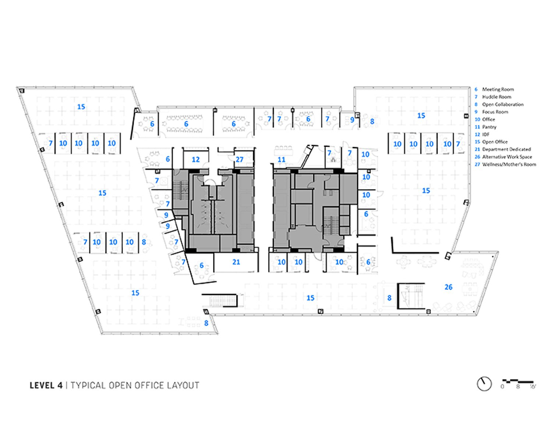 Floor Plan - Typical Office Floor Courtesy of Sasaki}