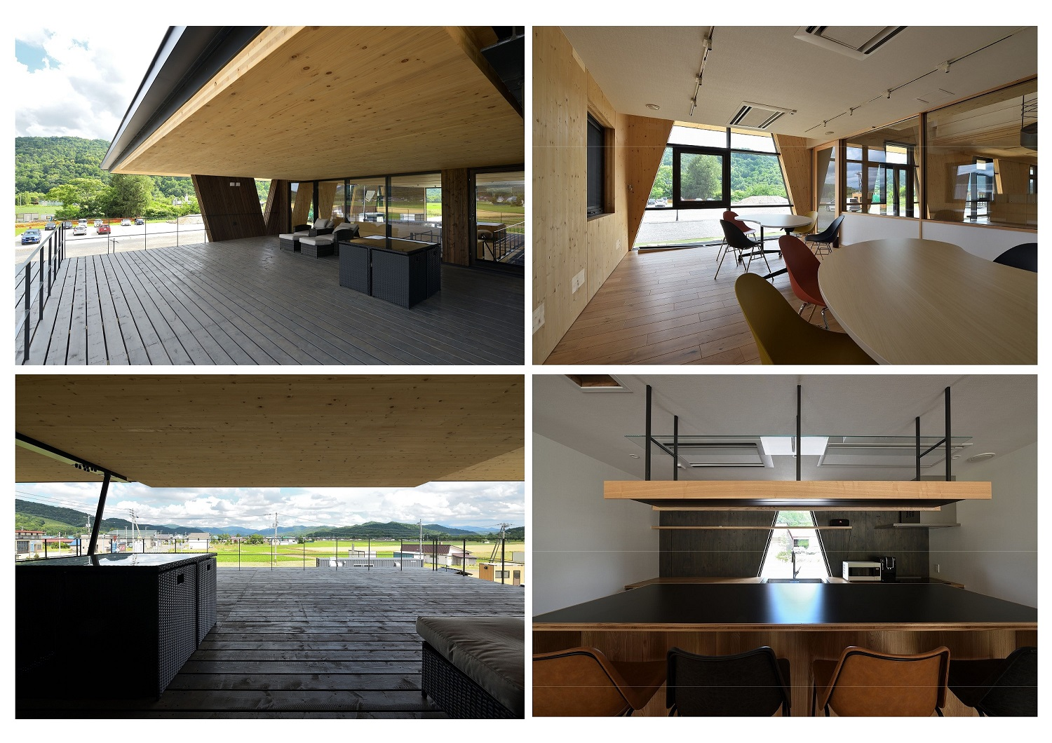 Pull bolts and long screws were used for the CLT joints, aiming to create a simple and natural expression without exposing any hardware on the surface. C The office is a column-free that can flexibly accom Ken Goshima