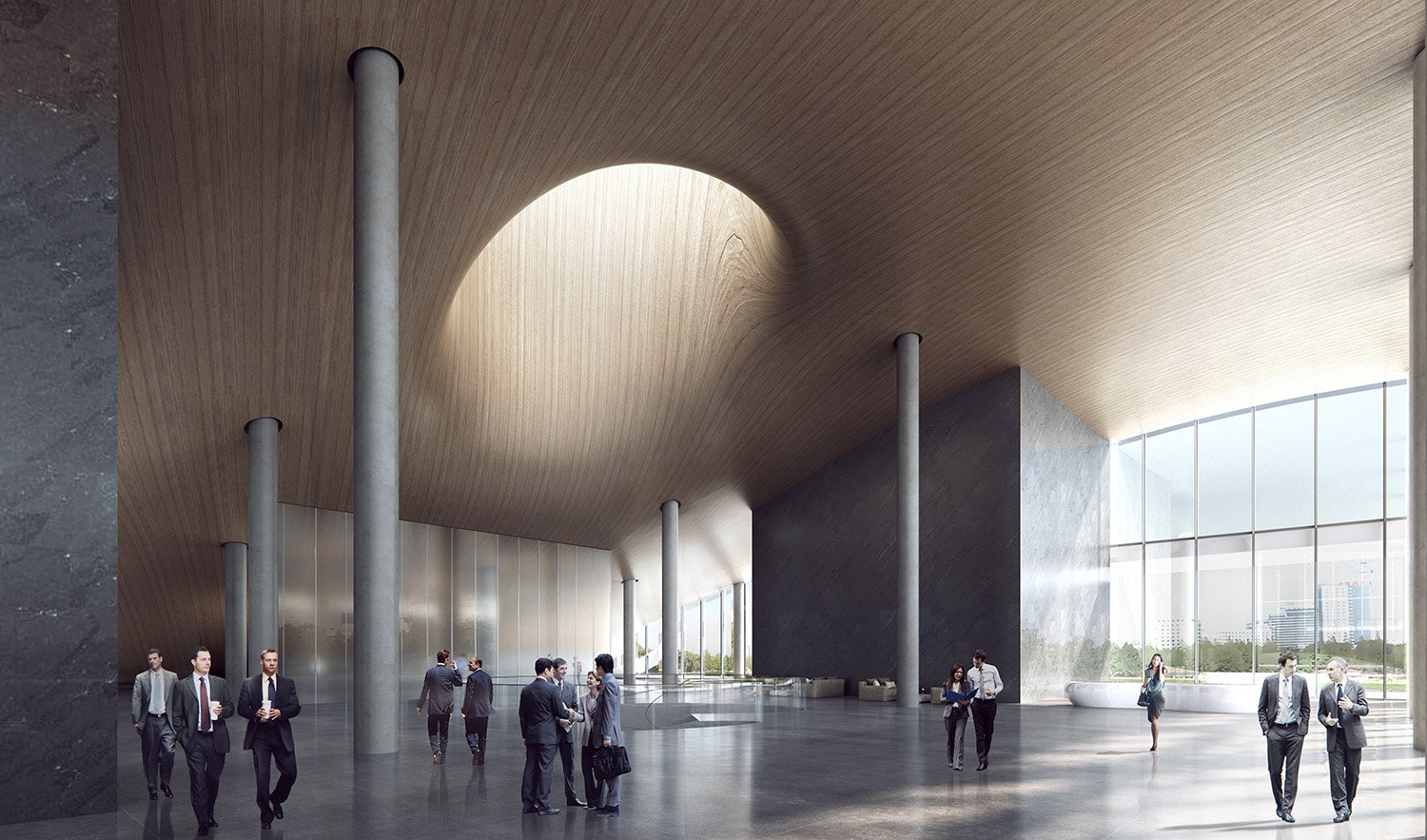 High-rise R&D building lobby Atelier Ping Jiang / EID Arch
