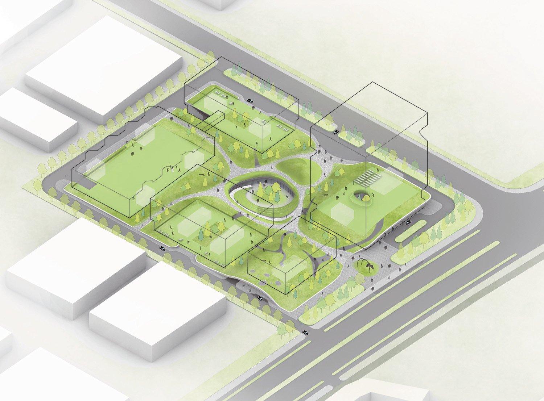 Undulating green carpet Atelier Ping Jiang / EID Arch}