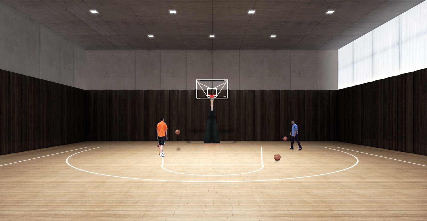 Interior basketball court Atelier Ping Jiang / EID Arch