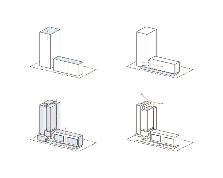 massing diagram Atelier Ping Jiang / EID Arch}