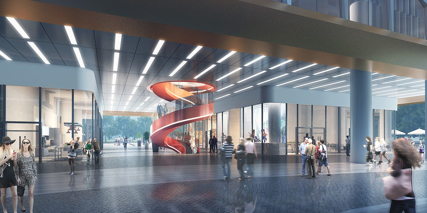 First Floor Public Space Renderings GWP Architects