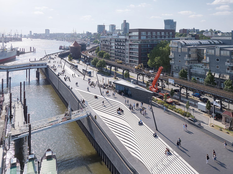 Niederhafen River Promenade in Hamburg by Zaha Hadid Architects Photograph by Piet Niemann}