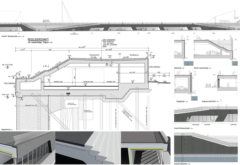 Elevation of Niederhafen River Promenade in Hamburg by Zaha Hadid Architects Courtesy of Zaha Hadid Architects}