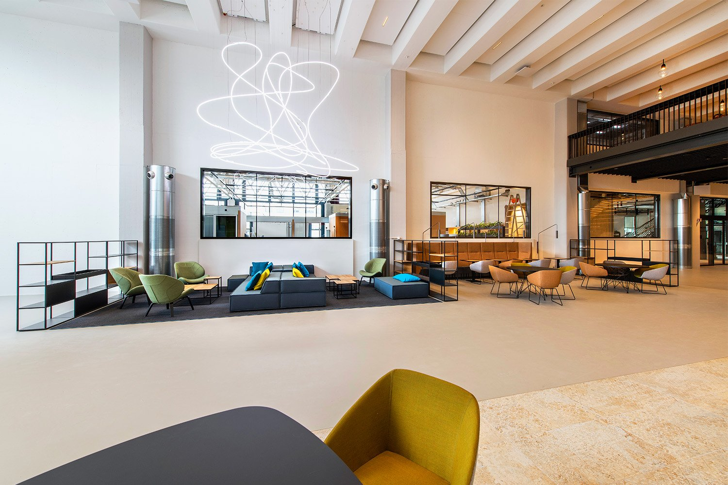 The main entrance foyer with a lounge and a barista bar. Peter Wuermli