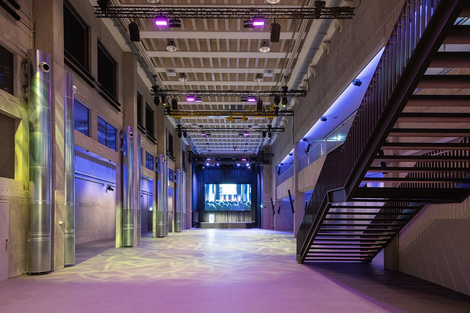 The event hall. Conversion of a former printing hall. Daniel Werder
