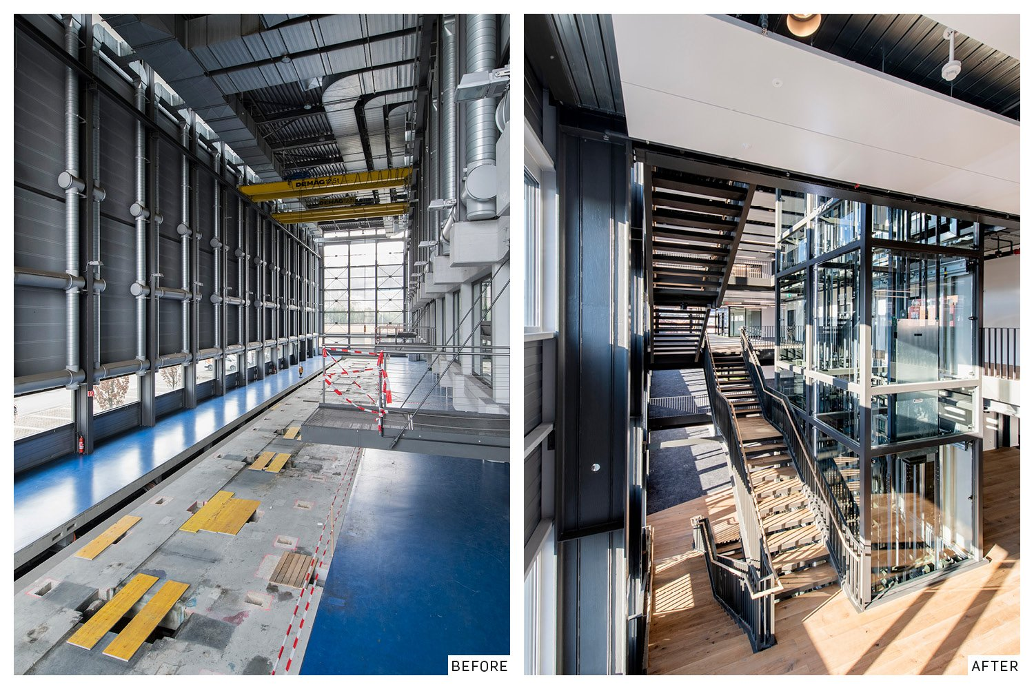 The main printing hall before and after the renovation. Evolution Design}