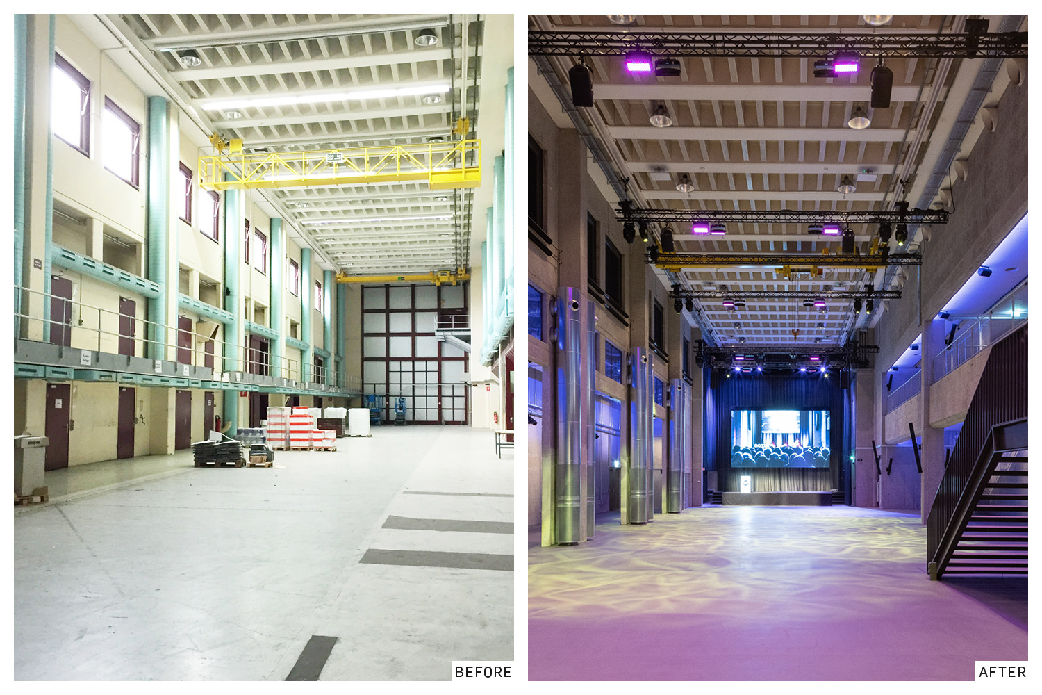 Another printing and distribution hall before and after the renovation. Evolution Design}