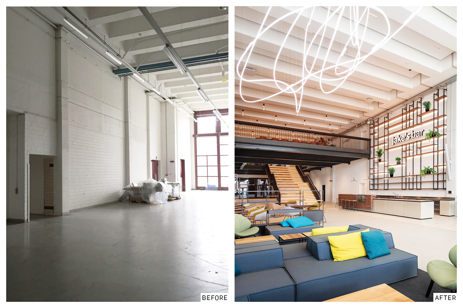 Distribution warehouse before and after the renovation. Evolution Design}