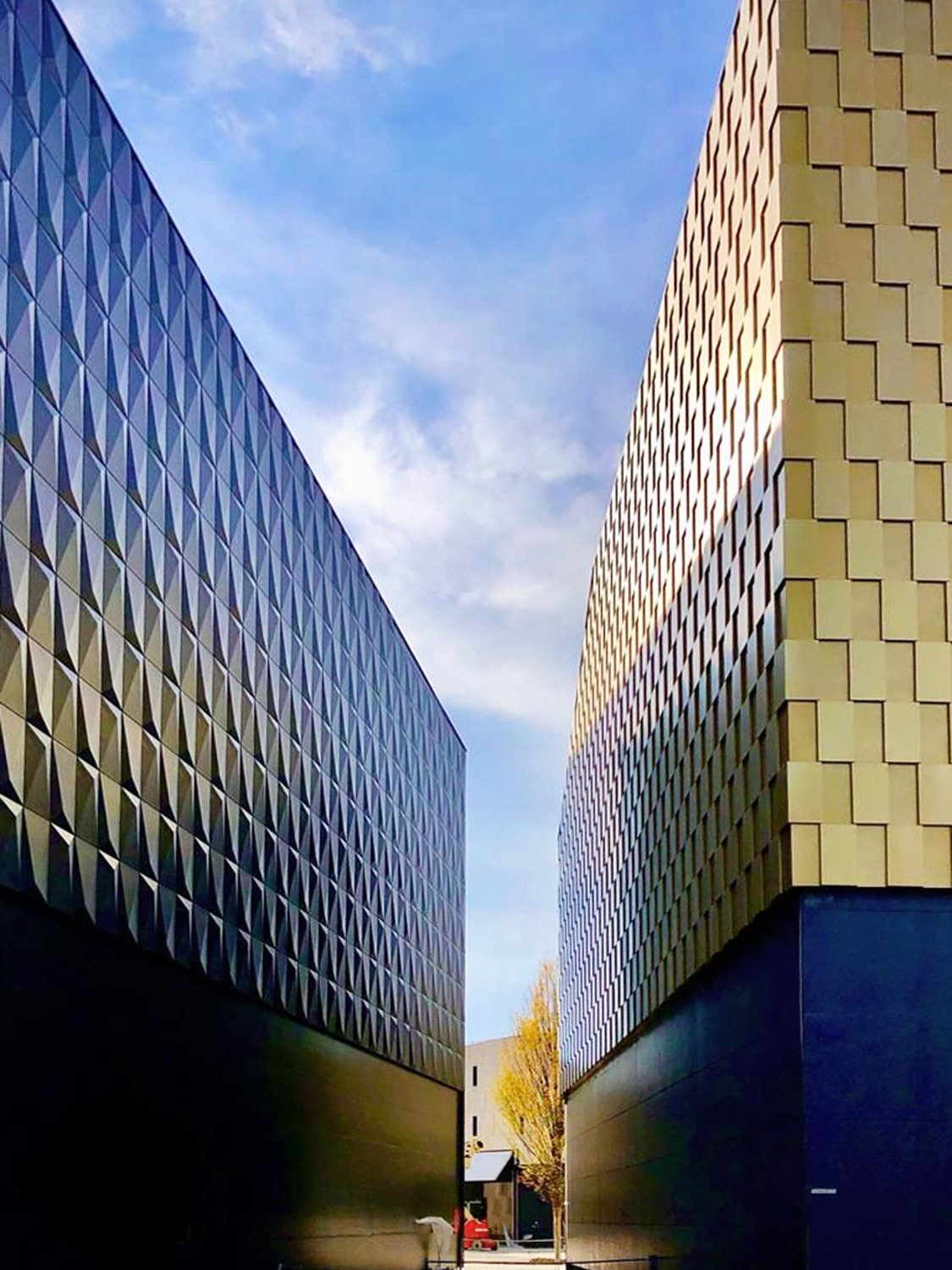 Different Materials: each differentiated through perforations, reliefs, and multiple patterns enriching the overall architectural language © One Works