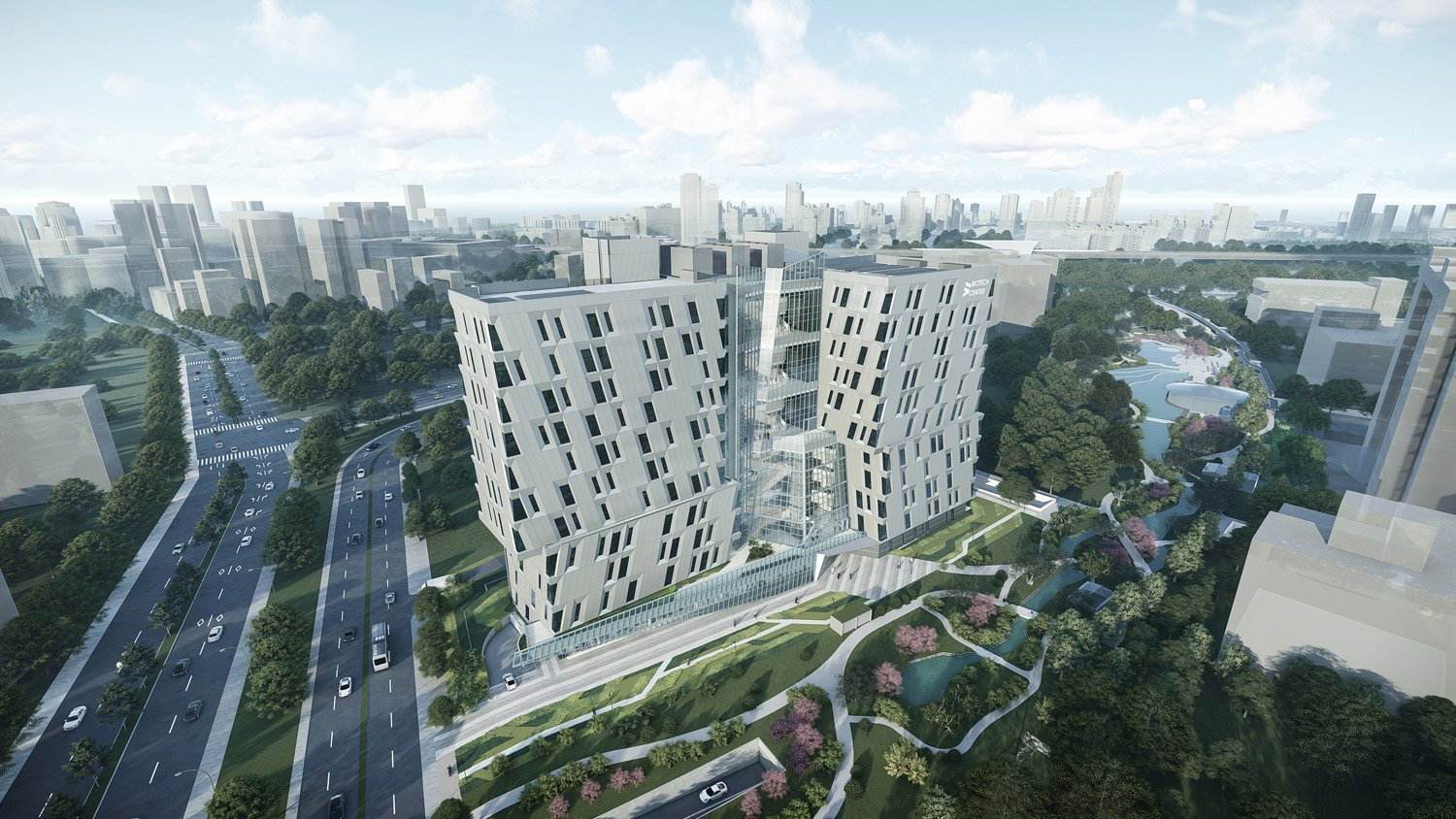 building volumes allows for maximum open space with the central green belt JJP