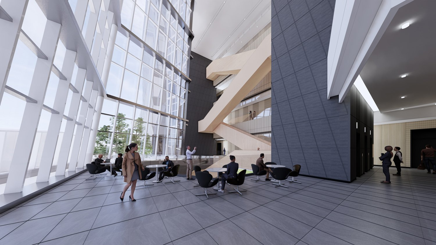 atrium space for communication and sharing JJP