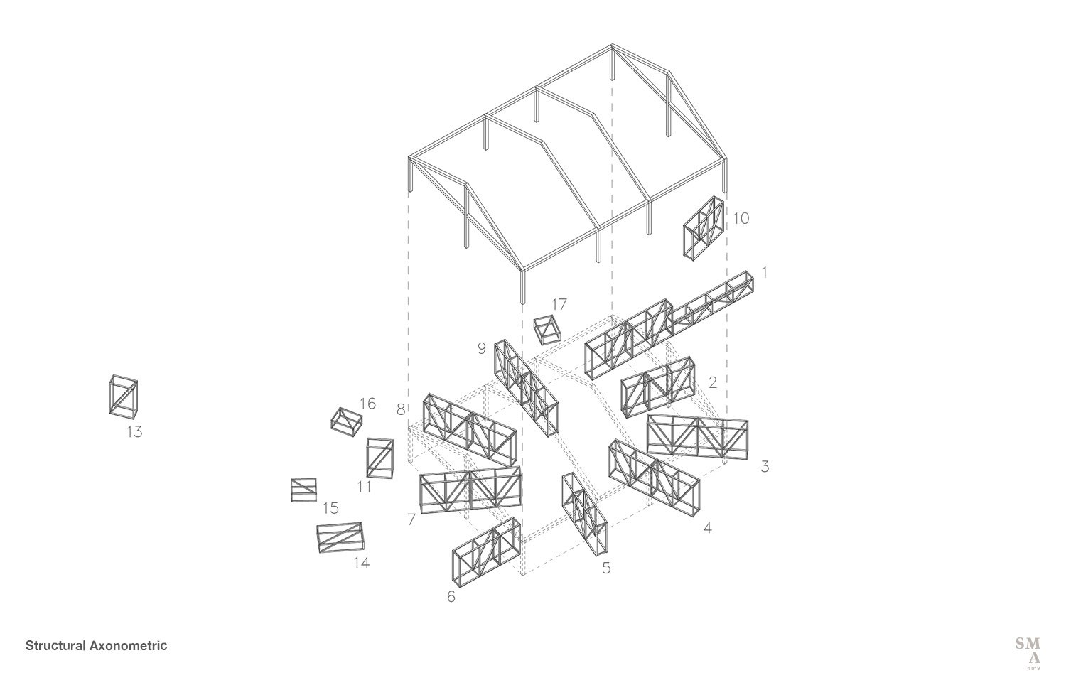 Structural Axonometric © Stephen Moser Architect}