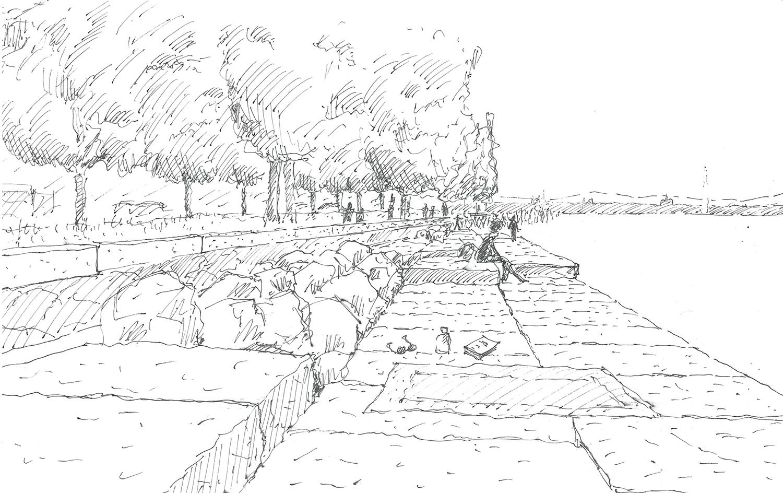 "Seating ""slabs"" sketch 5 ADAo Architectes sàrl}"