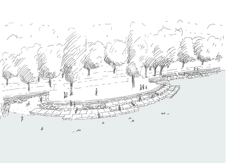 "Seating ""slabs"" sketch 6 ADAo Architectes sàrl}"