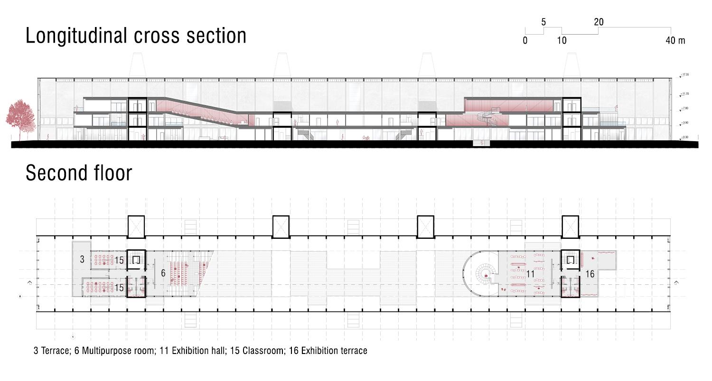 Longitudinal cross section and Second floor Luca Morganti, Emiliano Lambertini