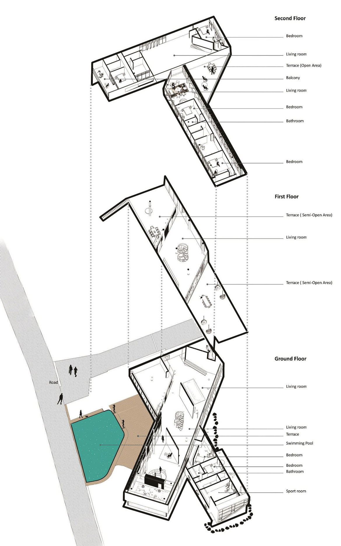 Exploded Plan Perspective Diagram Wall Corporation}
