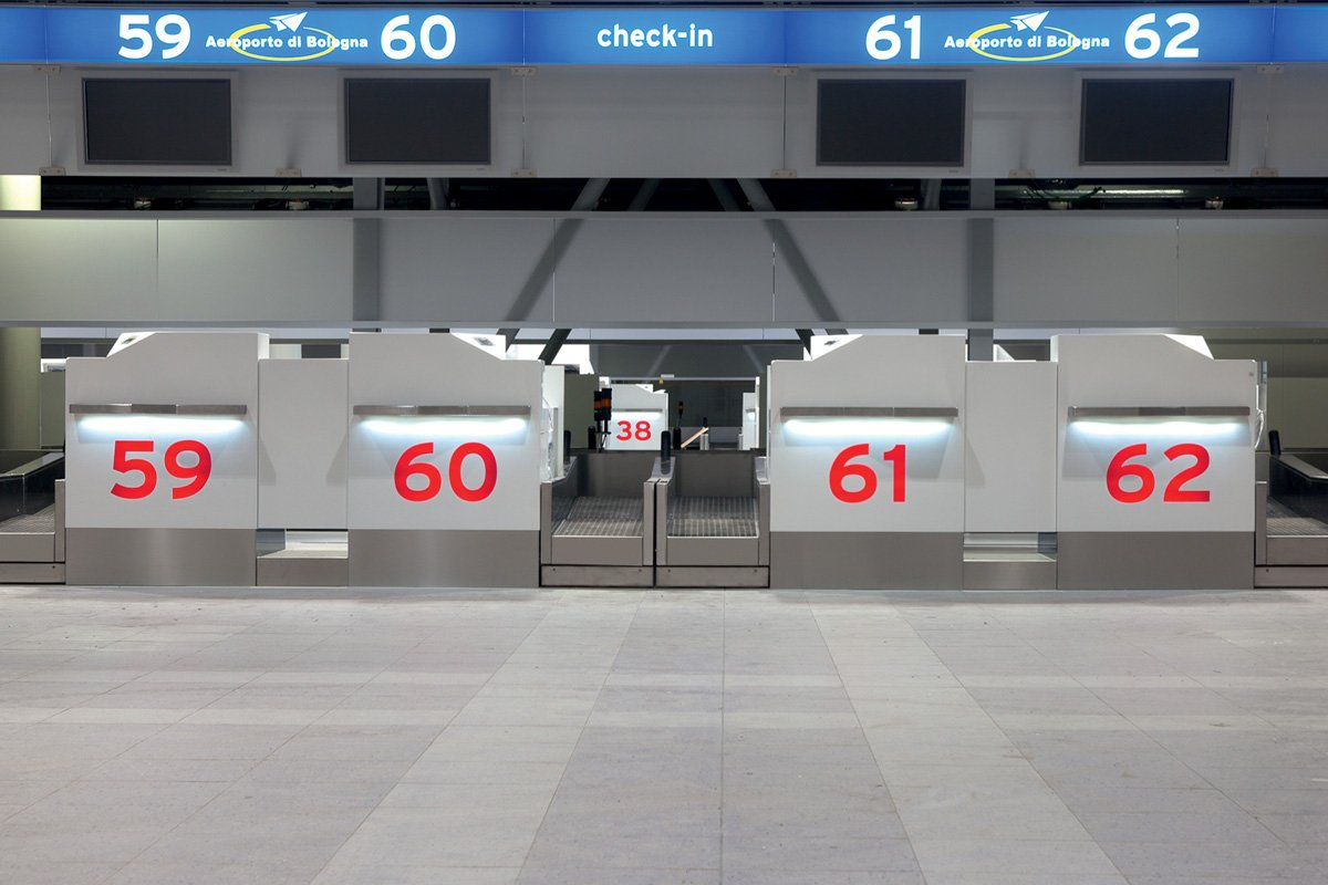 New check-in desks  at Marconi International Airport Bologna, Italy