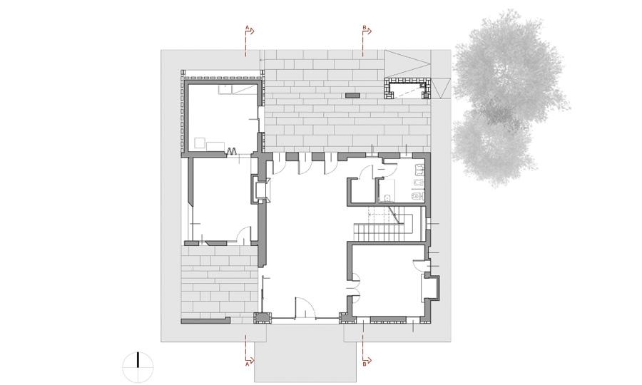 Pianta piano terra  © Bruno Stocco Architetto