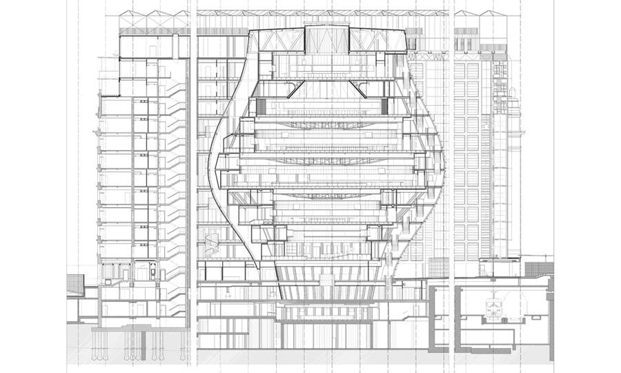 Sezione WW © Philippe SAMYN and Partners architects & engineers