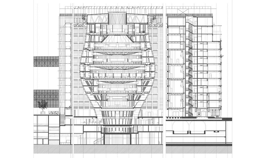 Sezione YY © Philippe SAMYN and Partners architects & engineers