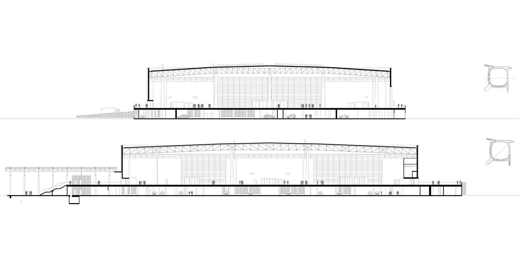 Sezioni AA, BB © aMDL architetto Michele De Lucchi