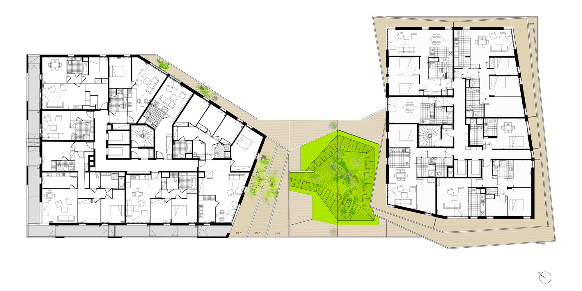 7th Floor Plan © Hamonic+Masson & Associés