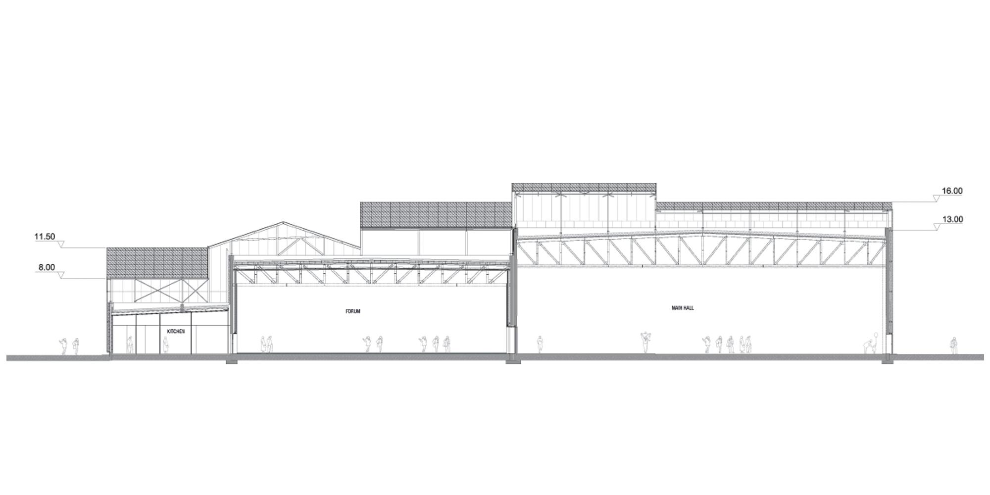 Sezione AA © Manuelle Gautrand Architecture