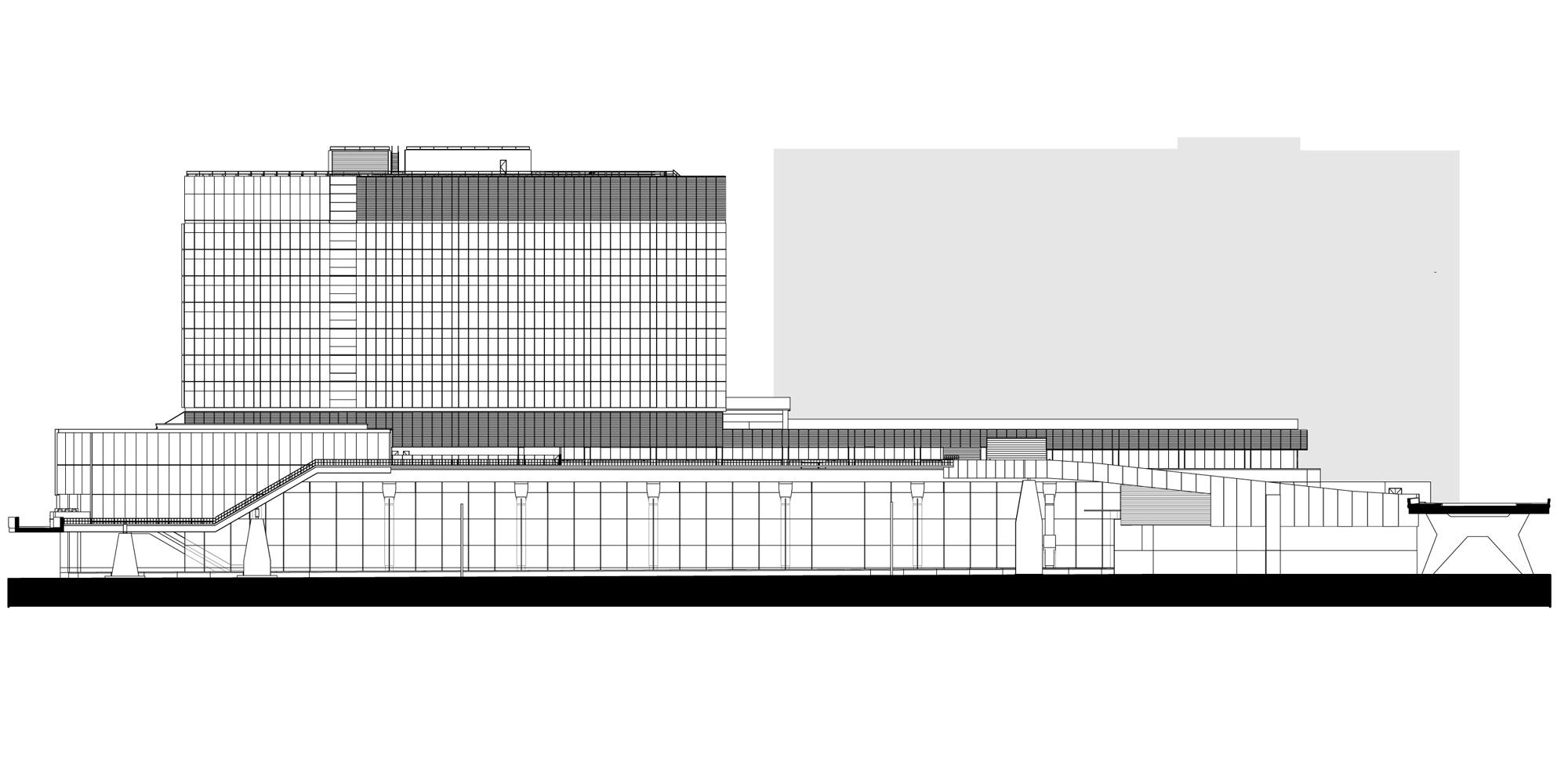 Prospetto ovest © Grimshaw Architects