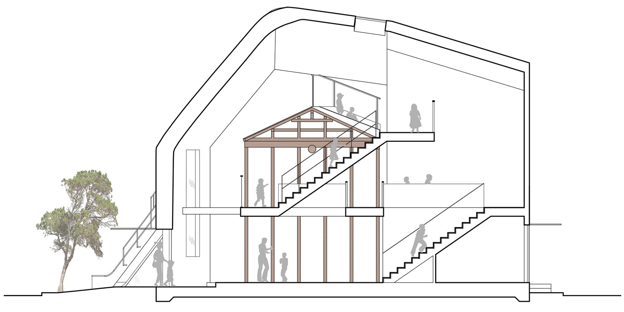 Sezione Longitudinale © MAD Architects