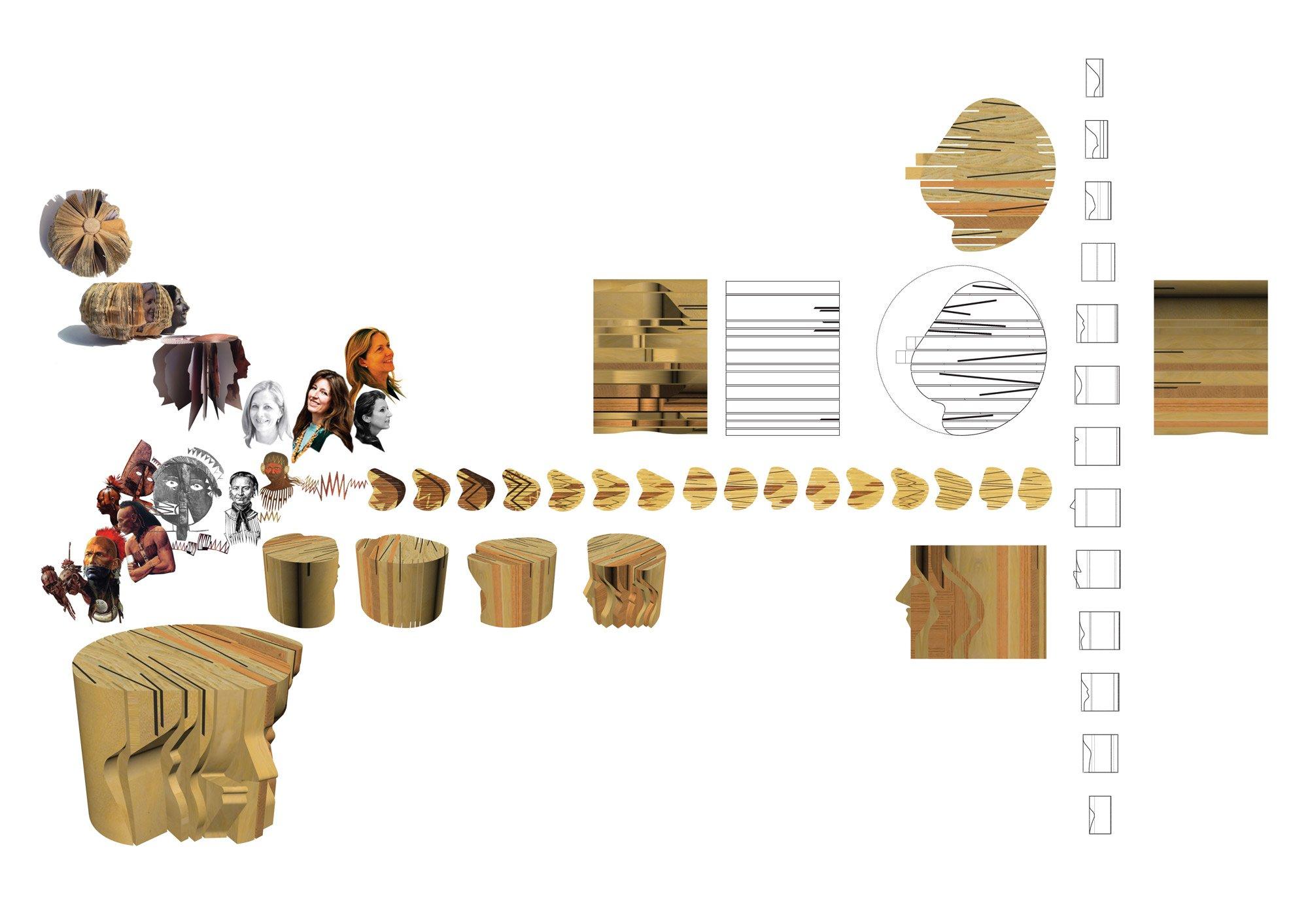 Initial design ideas for 'Profiles' tables © Benedetta Tagliabue (Miralles Tagliabue EMBT)