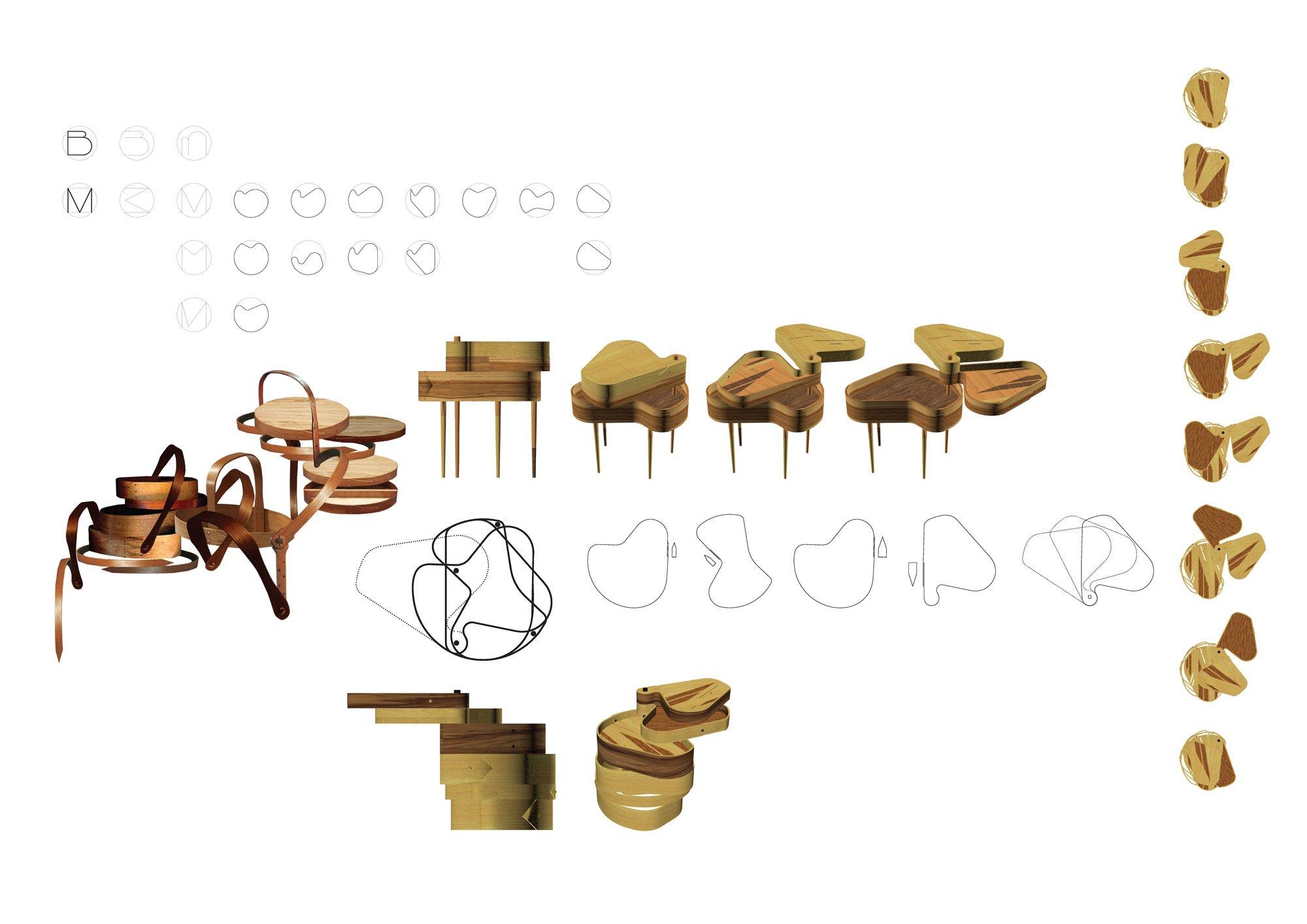 Initial design ideas for 'Ribbon' tables © Benedetta Tagliabue (Miralles Tagliabue EMBT)