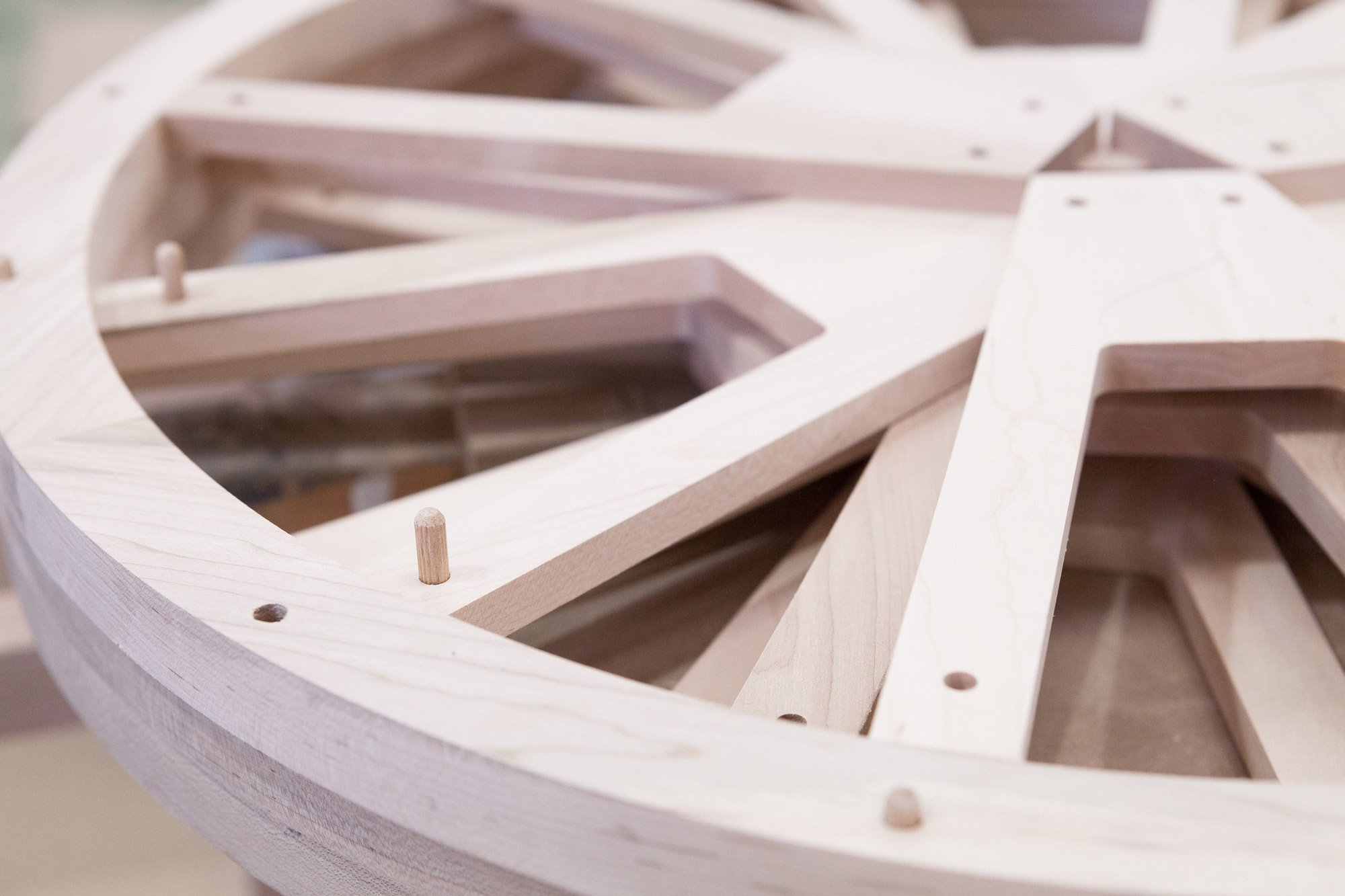 Tulipwood wheels for the pull out blinds of 'A Window to the Arzak Universe'  © Uxío Da Vila