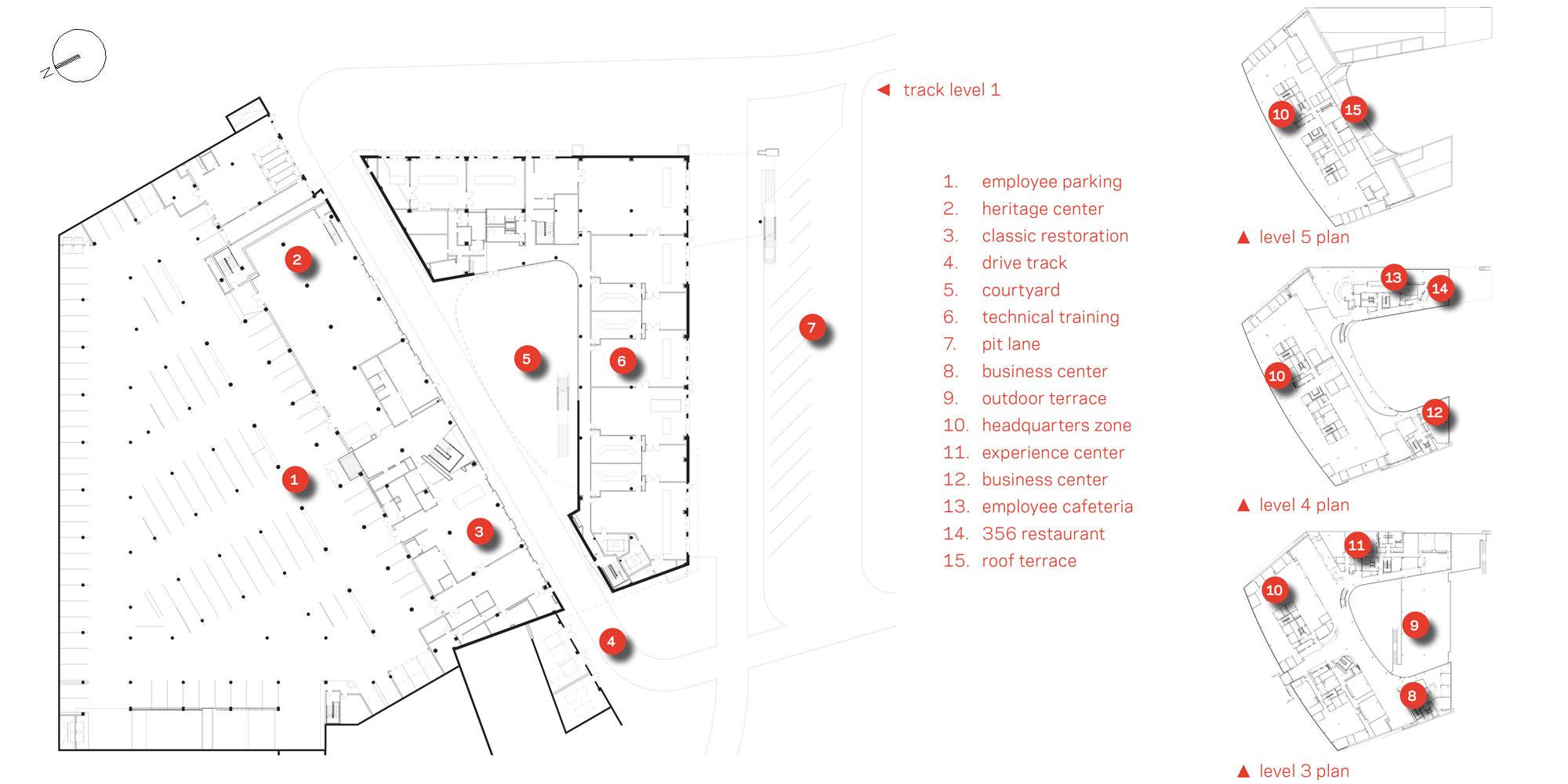 Piante livello 1,3,4 e 5 © HOK
