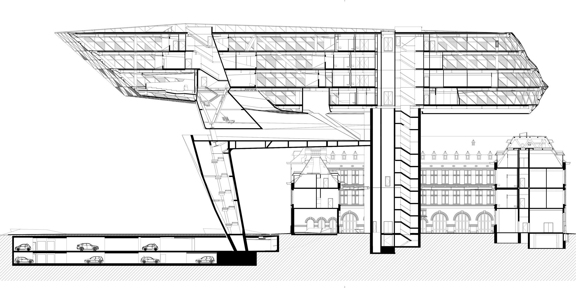 sezione longitudinale © Zaha Hadid Architects