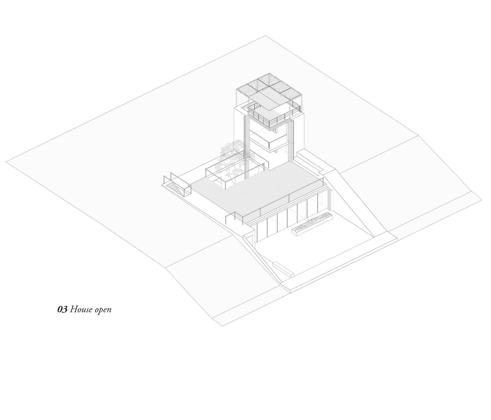 Vista assonometrica casa aperta © Hashim Sarkis Studios