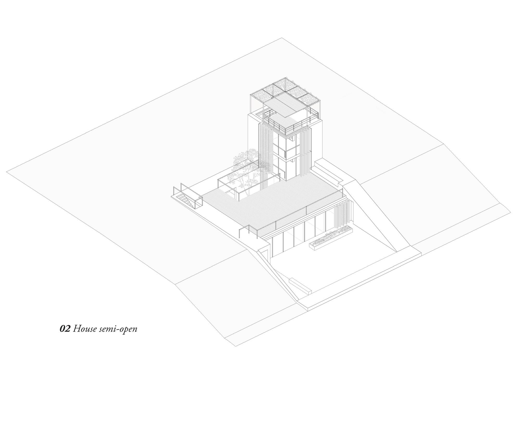 Vista assonometrica casa semi aperta © Hashim Sarkis Studios